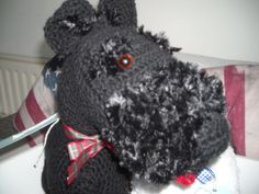 Hand made crochet scottie dog, made from a vintage pattern