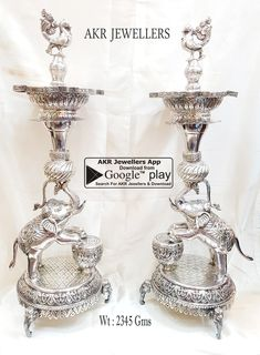 92.5 SILVER ANTIQUE ELEPHANT WITH PEACOCK LAMPS Gold Temple Jewellery, Silver Jewellery Indian, Silver Jewelry, Silver Lamp, Silver Trays, Gold Pendant, Pendant Jewelry, Silver Pooja Items, Puja Room