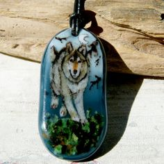 Wolf in the night necklace  fused glass pendant by ArtoftheMoment