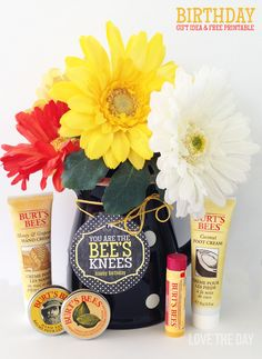 """Cute gift idea """"You are the BEES Knees"""" with Burt's Bees products."""
