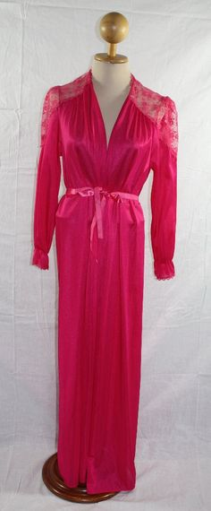 Vintage Lingerie Rose Pink Maxi Robe Sexy by ilovevintagestuff