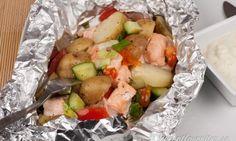 Lax i foliepaket med potatis och fetaost är gott, nyttigt, enkelt och snabbt att grilla.