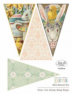 Vintage Easter Bunny Bunting Banner