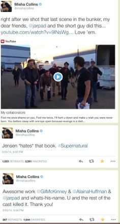 Misha's live tweets about the last shot and the episode in general. Click through for the rest :)