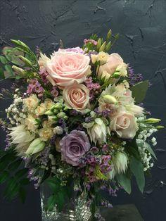 Charming Bridal bouquet with Amnesia, Sweet Avalanche&Spray roses, white lisianthus, white Blushing Bride flowers, wax flowers, gypsophila, levander, jasmine, soft ruscus, eucalyptus.