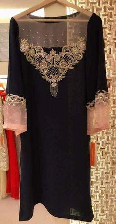 Best 12 Gold and silver embroidery on black kurta embroidery inspiration – SkillOfKing. Pakistani Formal Dresses, Pakistani Wedding Outfits, Pakistani Dress Design, Kurti Neck Designs, Dress Neck Designs, Kurti Designs Party Wear, Embroidery Suits, Embroidery Fashion, Frock Fashion