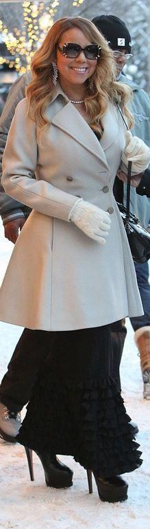 ea4bfd2b092 Who made Mariah Carey s tan coat