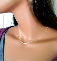 Sterling Sideways Cross Necklace Small by divinitycollection, $25.00