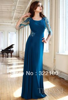 [ A-Line/Princess Scoop Neck Floor-Length Chiffon Mother of the Bride Dress With Ruffle Beading Prom Dresses Blue, Bridal Dresses, Bridesmaid Dresses, Dresses 2014, Party Dresses, Bridesmaids, Flowy Dresses, Chiffon Dresses, Bride Gowns