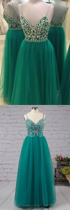 Long Prom Dress, Tulle Prom Dresses, Open Back Evening Dresses, Sexy Party Dresses, Green Formal Dresses