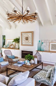 Sandy Beige and Blue Living Room... http://www.beachblissdesigns ...