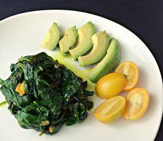 Fresh Turmeric Spinach with Avocado and Kumquats - AIP Lifestlye
