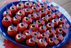 Red, White and Blue Stuffed Strawberries