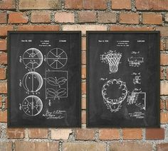 Basketball Patent Prints Set of 2 Basketball by QuantumPrints