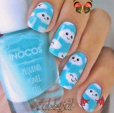 16 Diseños Kawaii que tienes que probar en tus uñas uñas nubes                                                                                                                                                      Más #nailart<br> No encontrarás diseños más tiernos que estos.