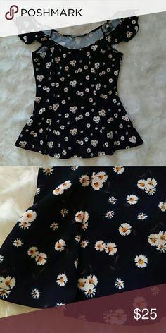 Cold shoulder peplum top Daisy pattern cold shoulder peplum shirt. Other