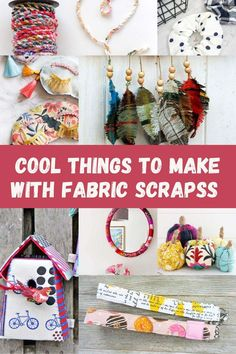 Cool things to make with fabric scraps for adult crafters. Over 60 great ideas, sewing and no-sewing projects many great handmade gift ideas too