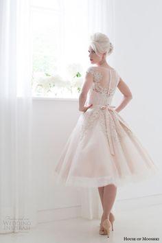 House of Mooshki spring 2015 poppy blush pink tea length illusion cap sleeves short wedding dress back.