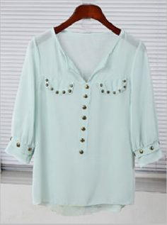 Green V-neck Studded Half Sleeve Sheer  Blouse