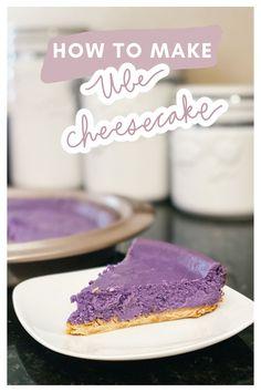 ube cheesecake & ube cheesecake + ube cheesecake recipe + ube cheesecake recipe filipino desserts + ube cheesecake mini + ube cheesecake no bake + ube cheesecake recipe cheese cakes + ube cheesecake instant pot + ube cheesecake tarts Ube Cheesecake Recipe, Mango Cheesecake, How To Make Cheesecake, Cheesecake Cookies, Ube Recipes, Sweet Recipes, Dessert Recipes, Filipino Desserts, Filipino Food