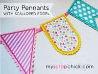 Party Pennants with Scallop Edge