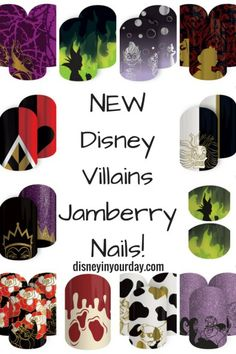 Disney villains Jamberry - get an awesome, evil manicure with the new Jamberry Disney Villains collection!  Disney in your Day Jamberry Nails Disney, Disney Manicure, Jamberry Nails Party, Disney World Nails, Evil Disney, Red Carpet Manicure, Painted Nail Art, Hair And Makeup Tips, Disney World Planning