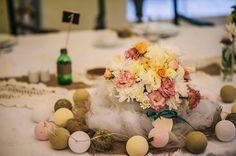 Cottonove Love = cotton balls on wedding table <3