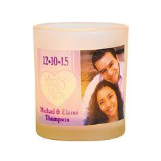 fun very personal candle option...Wedding Mr. & Mrs. Custom Photo Votive Holders - OrientalTrading.com