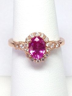 Rose Gold Pink Sapphire & Diamonds Oval Shape Halo Vintage Antique Style Color Stone Ring Band Platinum, 18K, 14K White, Yellow, Rose Gold