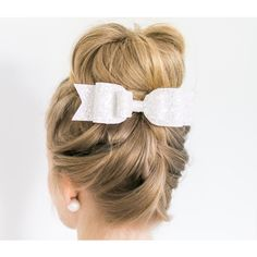 Girl and Adult Oversized Ice White Glitter Fabric Bow Hair Clip (€12) ❤ liked on Polyvore featuring accessories, hair accessories, hair, black, headbands & turbans, turban headband, glitter headbands, head wrap headband, bow hairband and bow headband