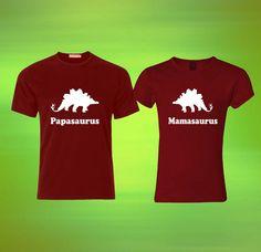 papasaurus mamasaurus couple Custom Tshirt print by laskarspelangi, $33.76