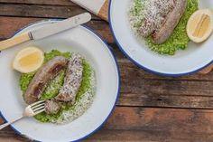 Sausages with Pea & Pesto Mash