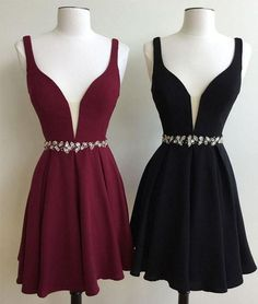 sexy deep v-neck homecoming dresses, burgundy homecming dresses, black homecoming dresses, A-line homecoming dresses, straps homecoming dresses, short prom dresses, formal dresses, party dresses#SIMIBridal #homecomingdresses