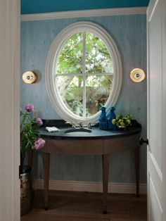 A window instead of a mirror in this powder room. Who wouldn't want a window that looks out on trees like that? Traditional powder room by Heydt Designs Interior Paint Colors, Interior Walls, Modern Interior, Interior Design, Interior Painting, Painting Doors, Painting Canvas, Painting Tips, Bathroom Interior