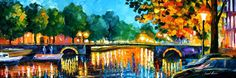 Leonid Afremov, oil on canvas, palette knife, buy original paintings, art,  famous artist, biography, official page, online gallery, scape,  outdoors, autumn, town, park, leaf, fall, European cities,  city, night, streets, rain, Netherlands, Amsterdam