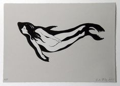 Selkie stone lithograph original print, by C.A. Hiley (Hiley Remarkable)
