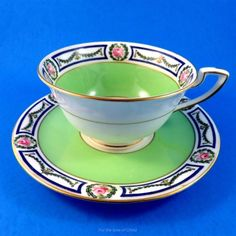 Lime Green & Cobalt Border with Roses Royal Worcester Tea Cup and Saucer Set