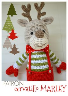 Cervatillo Marley - Mamacosesola Crochet Christmas Ornaments, Christmas Crochet Patterns, Christmas Deer, Christmas Animals, Christmas And New Year, Marley Crochet, Crochet Deer, Crochet Toys, Crochet Baby