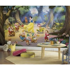 Bring the magic of Disney into your child's bedroom with this cute Disney's Snow White and the Seven Dwarfs removable wallpaper mural. Bathroom Wall Decor, Nursery Decor, Nursery Murals, Orla Infantil, Disney Wall Murals, Disney Princess Movies, Disney Characters, Wall Decals, Wall Art