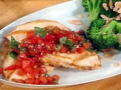 Tuscan Chicken with Tomato-Basil Relish and Toasted Almond Broccoli