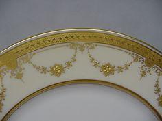 Set of 12 Lenox Cream & Raised Gold Swag Design Service Plates