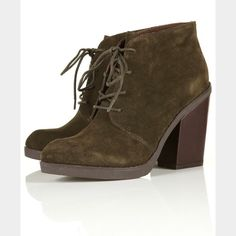 """Topshop suede lace up boots Beautiful olive green lace up ankle boots with angular toe shape and sturdy block heel. Perfect neutral color booties that look great with jeans, leggings or dresses! Heel height approx 4"""". Genuine Leather suede. Some light scuffs (pictured) but are barely noticeable. Only worn out once. Topshop Shoes Ankle Boots & Booties"""