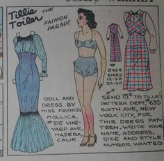 Tillie The Toiler with Uncut Paper Doll from 11 7 1937 Full Size Page | eBay
