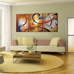 Brighten up your home with this 'Happiness Abstract' canvas art set. With swirls of bright colors, this three-piece, gallery-wrapped canvas art set enhances any decor with a joyful feeling. 5 Piece Canvas Art, Abstract Canvas Art, Oil Painting Abstract, Canvas Art Prints, Canvas Wall Art, Large Canvas, Painting Canvas, Space Painting, Canvas Canvas