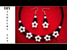 How to make elegant beaded necklace and earrings set - YouTube