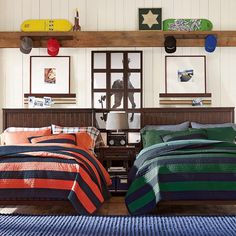 Rugby Stripe Quilt + Sham   PBteen Love the stripes and the combination wall treatments (dark wood beadboard, white planks and rustic wood rail)