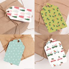 Free Printable Gift Tags! This set has pastel reds and muted greens, aquas and even pinks and blues in fun, easy to use tags that you can print at home.