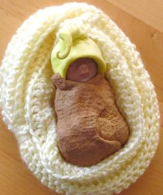 Tiny Hand Sculpted Clay Baby with Elf Hat by joyart on Etsy, $20.00