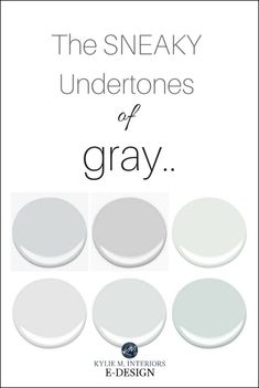 The undertones of a cool gray paint colour, blue, purple and green. Benjamin Moore and Sherwin Williams. Kylie M Interiors E-design, online virtual paint colour consulting Light Grey Paint Colors, Best Gray Paint Color, Greige Paint Colors, Paint Colours, Gray Color, Neutral Paint, Grey Purple Paint, Pink Color, Interior Paint Colors For Living Room
