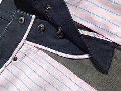 Internal finishing and detail on a pair of bespoke jeans. This service is available by appointment in Savile Row.